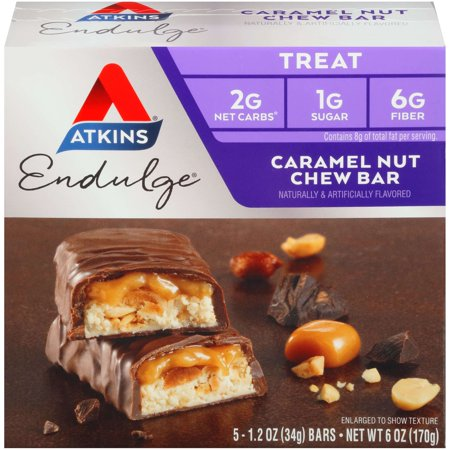 Atkins Endulge Caramel Nut Chew Bar, 1.2oz, 5-pack (Treat) (Bar Strawberry Nut)