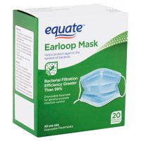 (2 pack) Equate Earloop Disposable Facemasks, 20 count