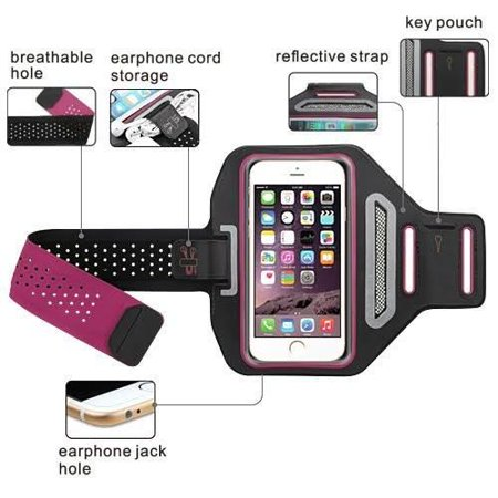 Apple iPod Touch 4/5/6Universal Sports Armband for Active Wear Gym Sport Running Armband Pouch For Workout + Key Holder - Hot Pink