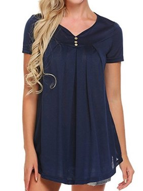 DYMADE Women's Classic Short Sleeve V-Neck Pleated Tunic Shirt Flowy Casual Top