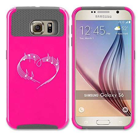 Samsung Galaxy S6 Edge+ Plus Shockproof Impact Hard Case Cover Heart Love Music Notes (Hot Pink-Grey),MIP - Music Note Hat