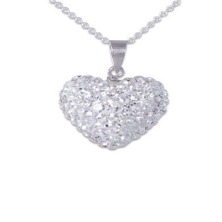 """Clear Crystal Fine Silver Plated Heart Pendant, 18"""""""