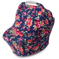 Kids N' Such Nursing Cover, Car Seat Canopy, Shopping Cart, High Chair and Carseat Covers for Girls - Best Stretchy Infinity Scarf and Shawl - Multi Use Breastfeeding Cover Up - Vintage Navy Floral