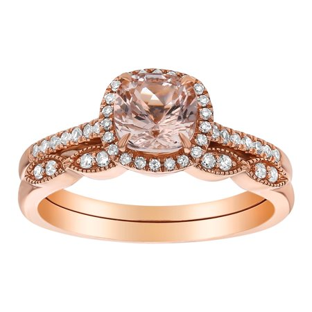 14k Rose Gold Cushion Cut Morganite and 1/4 Carat Diamond Engagement 2 Ring Set with Wedding Band (H-I, SI2-I1)