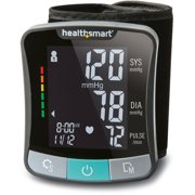 HealthSmart Premium Digital Cuff Wrist Heart Rate Blood Pressure Monitor, Automatic Talking Wrist Blood Pressure Monitor, Two Person 120 Reading Memory, Black and Gray