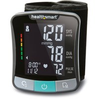 HealthSmart Premium Digital Cuff Wrist Heart Rate Blood Pressure Monitor, Automatic Talking Wrist Blood Pressure Monitor, Two Person 120 Reading Memory, Black and Gray