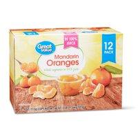 (12 Pack) Great Value Mandarin Oranges in 100% Juice, 4 oz cups
