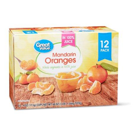 (12 Pack) Great Value Mandarin Oranges in 100% Juice, 4 oz cups - Mandarin Orange Halloween Cups