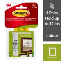 Command Damage-Free Medium Picture Hanging Strips, 2 pairs hold 6 pounds, Create Gallery Walls, Indoor, 12 Pairs (24 Strips, Gallery Wall Pack, Hangs up to 6 frames