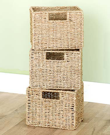 Wooden Bathroom Spacesavers or Baskets-Set of 3 Seagrass Baskets ()