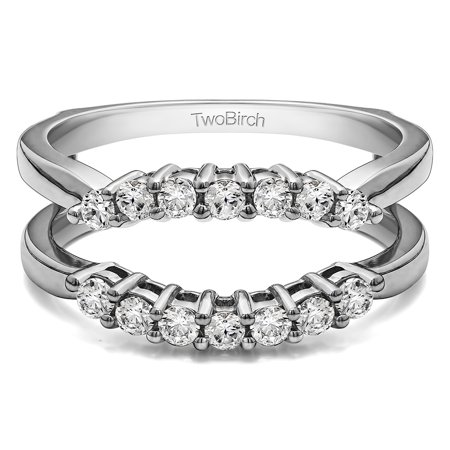 Brilliant Moissanite Mounted in Sterling Silver Double Shared Prong Contour Ring Guard (Round Moissanite Double Prong)