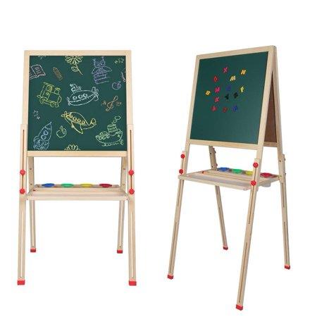 Chalkboard Drawing - WALFRONT Kids Art Easel, Wooden Easel Set,Kids Painting Board Blackboard Whiteboard Chalkboard Drawing Stand,All-in-One Adjustable Double Side Wooden Children Art Easel with Magnetic Snap Eraser Set