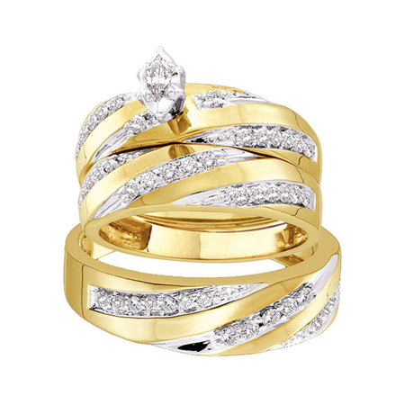 Marquise Solitaire Ring Setting (10kt Yellow Gold His & Hers Marquise Diamond Solitaire Matching Bridal Wedding Ring Band Set 3/4 Cttw)