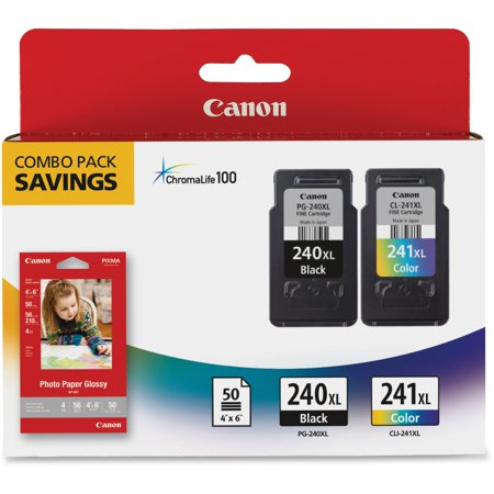 Canon PG-240XL/CL-241XL/GP-502 High Yield Ink Cartridges + Photo Paper Combo Pack, 2-Pack