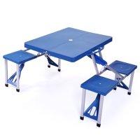 Jaxpety Folding Compact Table Outdoor Camp Kids Picnic Party Table Set Suitcase Blue