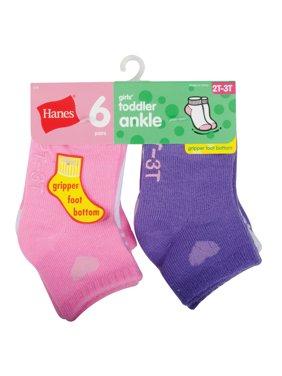 Hanes Girls' Toddler 6-Pack Ankle Socks