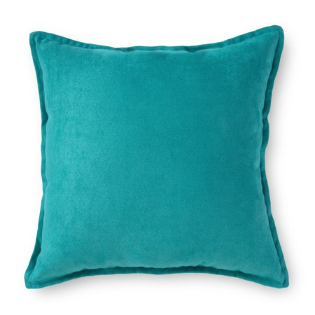 "Mainstays Faux Suede Decorative Throw Pillow with Flange, 18"" x 18"", Multiple Colors"