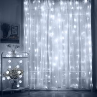 TORCHSTAR 9.8ft x 9.8ft LED Curtain Lights, Starry Christmas String Light, Indoor Decoration for Festival Wedding Party Living Room Bedroom, Daylight