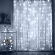 Torchstar 9 8ft X Led Curtain Lights Starry Christmas String Light Indoor