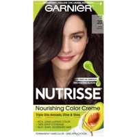Garnier Nutrisse Nourishing Hair Color Creme (Blacks), 20 Soft Black (Black Tea), 1 kit
