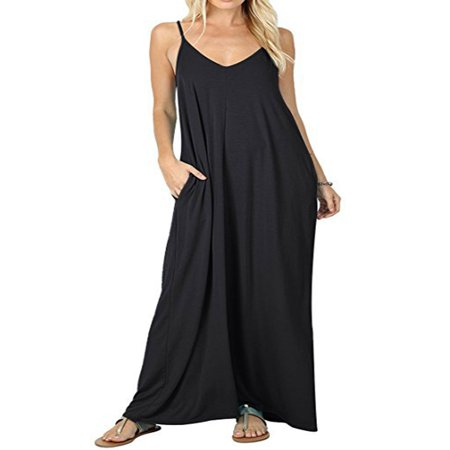 Women Boho Spaghetti Strap Sleeveless Casual Baggy Long Maxi Dresses Loose V-neck Evening Party Holiday Beach Sundress