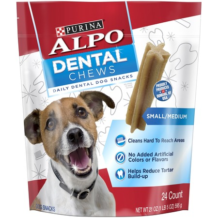 ALPO Dental Chews Small/Medium Dog Treats 21 Oz. Animal Shaped Dog Treats