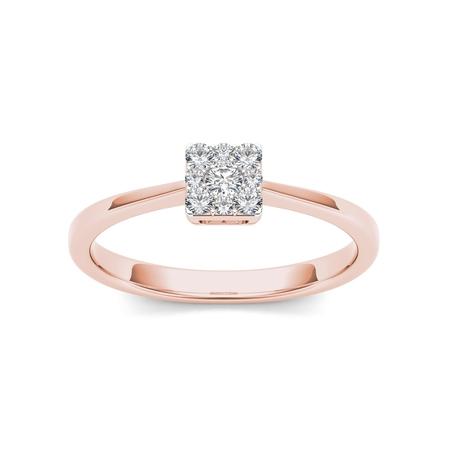 1/6Ct TDW Diamond 10K Rose Gold Diamond Cluster Fashion - Cluster Fashion Ring