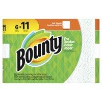 Bounty Paper Towels, White, 6 Super Rolls = 11 Regular Rolls