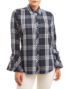 Women's Woven Ruffle Sleeve Shirt