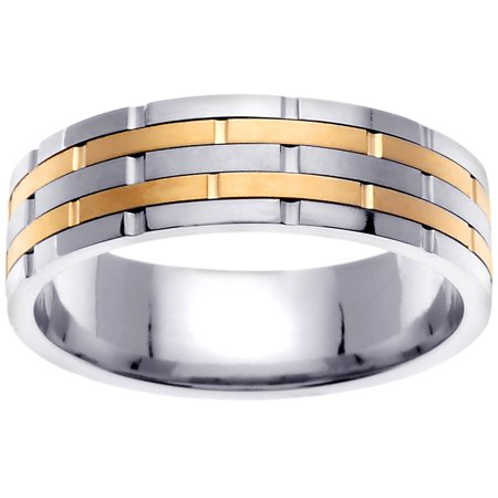 18K Two Tone Gold Stacking Style Modern Comfort Fit Women's Wedding Band (6.5mm) (Modern Two Tone Wedding Band)