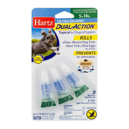 Hartz UltraGuard Dual Action Flea & Tick Topical for Dogs (Choose Dog Size), 3 Monthly