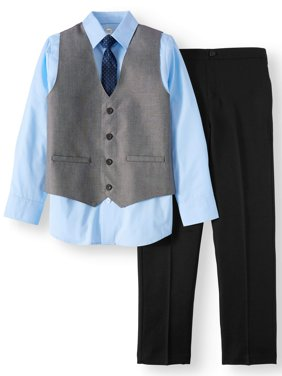 Boys' Dressy Set With Sharkskin Vest, Blue Dress Shirt, Skinny Tie and Black Pull-On Pants, 4-Piece Outfit Set
