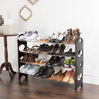 Shoe Rack, Stackable Storage Bench – Closet, Bathroom, Kitchen, Entry Organizer, 4-Tier Space Saver Shoe Rack by Everyday Home