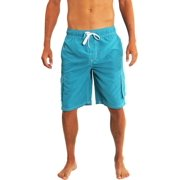 525015c252 Norty Mens Swim Trunks - Watershort Swimsuit - Cargo Pockets - Drawstring  Waist Aqua 2 /