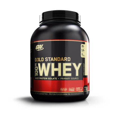 Optimum Nutrition Gold Standard 100% Whey Protein Powder, Vanilla Ice Cream, 24g Protein, 5 (Optimum Nutrition 100 Whey Protein Gold 5 Lbs)