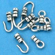 c3e74a15fa 10 Silver Crimp Beads Fancy Hook & Eye Cord Ends 1mm