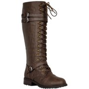 8236fc0adc8b Motive-01 Women Knee High Lace Up Side Zipper Military Combat Flat Boots  Brown