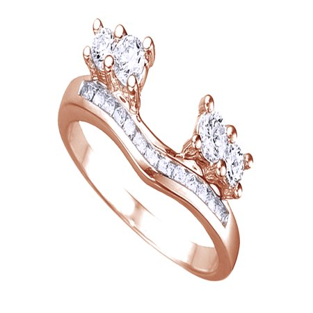 White Cubic Zirconia Solitaire Anniversary Wrap Enhancer Ring In 14k Rose Gold Over Sterling Silver ()