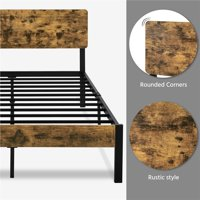 SmileMart Metal Full Bed with Wooden Headboard and Footboard