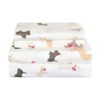 Pointehaven Winter Dogs Flannel Sheet Set