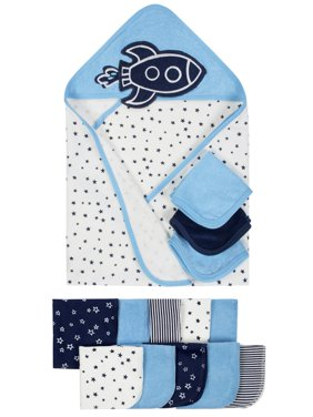 Terry Hooded Towels & Washcloths Bath Set, 14-piece (Baby Boys)