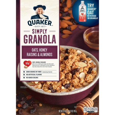 Quaker Simply Granola, Oats, Honey, Raisins & Almonds, 28 oz Box