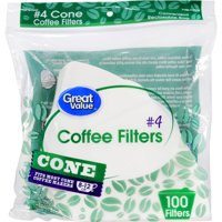 (8 Pack) Great Value Cone Coffee Filters, #4, 8-12 cup, 100 Count