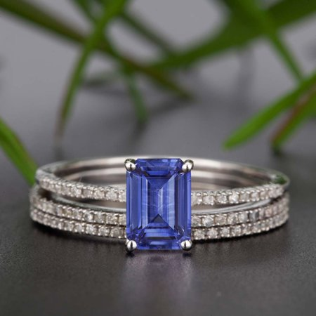 Emerald Cut Diamonds Band (2 Carat Emerald Cut Real Sapphire and Diamond Wedding Trio Ring Set with Engagement Ring and 2 Wedding Bands in 18k Gold Over)