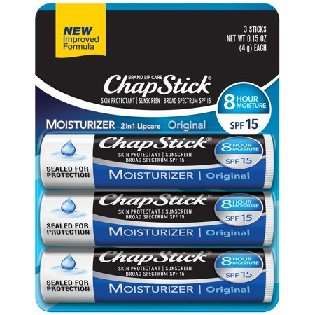 ChapStick Skin Protectant Lip Balm, Original, 3 (Best Baby Lips Color For Dark Skin)