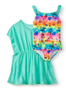 Girls' Emoji Ruffled One-Piece Swimsuit and Kaftan Coverup, 2-Piece Set