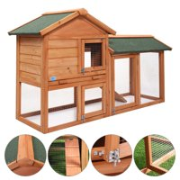 "Jaxpety 58"" Wooden Chicken Coop Backyard Hen Wooden Rabbit House Poultry Hutch Outdoor Run"