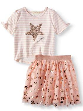 Sequin Stripe Cold Shoulder Top and Foil Tutu Skirt, 2-Piece Outfit Set (Big Girls)