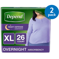 Depend Night Defense Incontinence Overnight Underwear for Women, XL, 2 Packs of 26