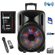 65d87efba beFree Sound 12 Inch Woofer Portable Bluetooth Powered PA Tailgate Party  Rechargeable Speaker With Illuminating Lights